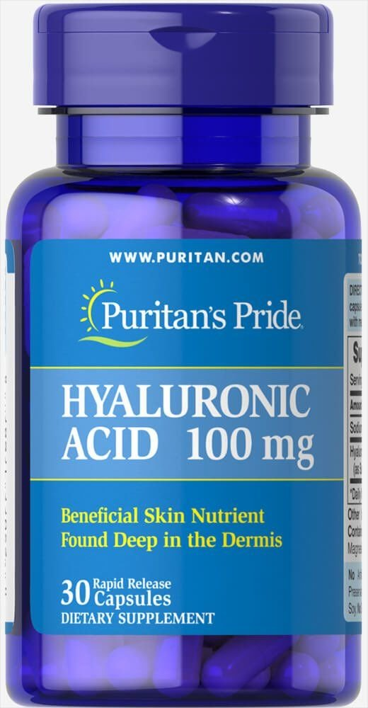 Гиалуроновая кислота, Hyaluronic Acid, Puritan's Pride, 100 мг, 30 капсул