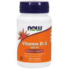 Вітамін Д3, Vitamin D-3, Now Foods, 400 МО, 180 капсул