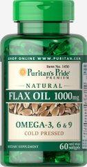 Лляна олія, Natural Flax Oil, Puritan's Pride, без ГМО, 1000 мг, 60 гелевих капсул