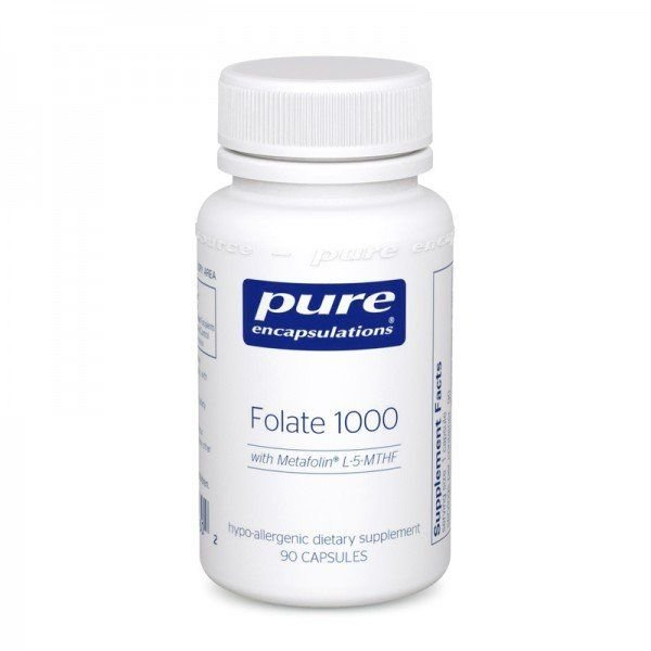 Фолат, Folate, Pure Encapsulations, 1000 мг, 90 капсул