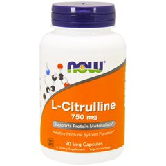 Цитруллин, L-Citrulline, Now Foods, 750 мг, 90 капсул