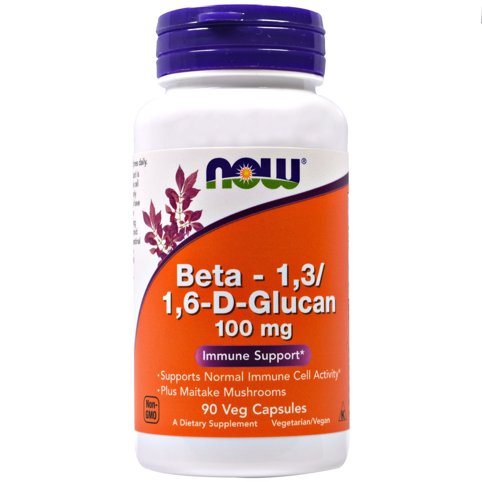 Бета глюкан, Beta-1,3 / 1,6-D-Glucan, Now Foods, 100 мг, 90 капсул