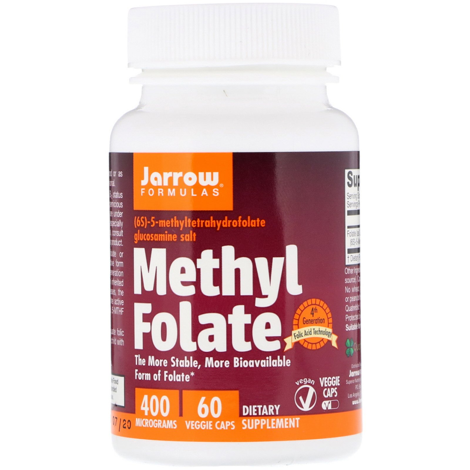 Methyl Folate, Jarrow Formulas, 400 мкг, 60 капсул
