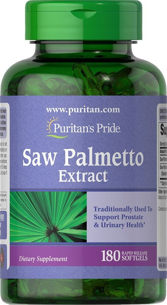 Со пальметто, Saw Palmetto, Puritan's Pride, екстракт, 180 гелевих капсул