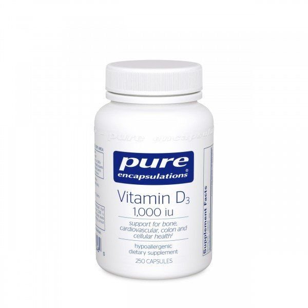 Вітамін D3, Vitamin D3, Pure Encapsulations, 1,000 МО, 60 капсул